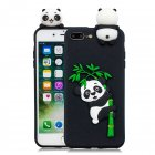 For iPhone 5 5S SE 6 6S 6 Plus 6S Plus 7 8 7 Plus 8 Plus Phone Case 3D Cartoon Panda Bamboo Cellphone Back Shell Shockproof Smartphone Cover Black