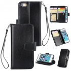 For iPhone 5 5S SE PU Cell Phone Case Protective Leather Cover with Buckle   9 Card Position   Lanyard   Bracket black