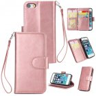 For iPhone 5 5S SE PU Cell Phone Case Protective Leather Cover with Buckle   9 Card Position   Lanyard   Bracket Rose gold
