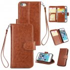 For iPhone 5/5S/SE PU Cell Phone Case Protective Leather Cover with Buckle & 9 Card Position & Lanyard & Bracket brown