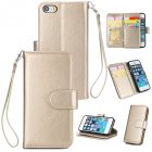 For iPhone 5/5S/SE PU Cell Phone Case Protective Leather Cover with Buckle & 9 Card Position & Lanyard & Bracket gold