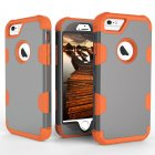 For iPhone 6/6S PC+ Silicone 2 in 1 Hit Color Tri-proof Shockproof Dustproof Anti-fall Protective Cover Back Case Gray + orange