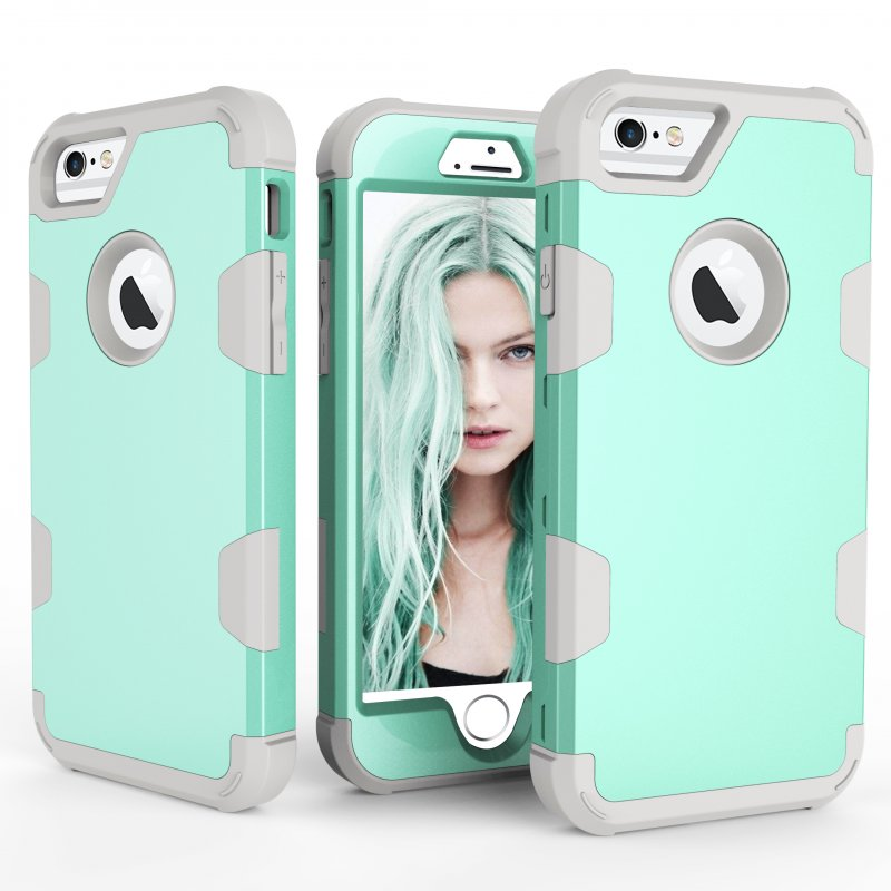 For iPhone 6/6S PC+ Silicone 2 in 1 Hit Color Tri-proof Shockproof Dustproof Anti-fall Protective Cover Back Case Mint green + gray
