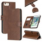 For iPhone 6 plus / 6S plus / 7 plus / 8 plus Denim Pattern Solid Color Flip Wallet PU Leather Protective Phone Case with Buckle & Bracket brown