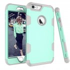 For iPhone 6 plus/6S plus PC+ Silicone 2 in 1 Hit Color Tri-proof Shockproof Dustproof Anti-fall Protective Cover Back Case Mint green + gray