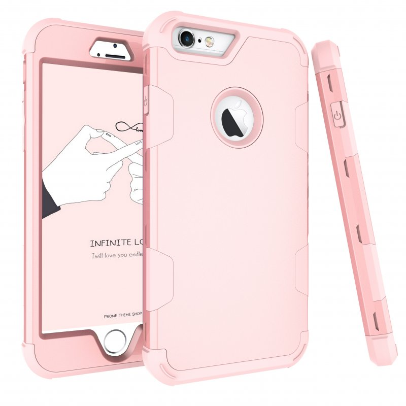 For iPhone 6 plus/6S plus PC+ Silicone 2 in 1 Hit Color Tri-proof Shockproof Dustproof Anti-fall Protective Cover Back Case Rose gold