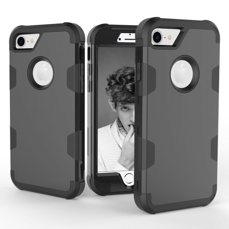 For iPhone 7 PC+ Silicone 2 in 1 Hit Color Tri-proof Shockproof Dustproof Anti-fall Protective Cover Back Case black