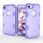 For iPhone 7 PC+ Silicone 2 in 1 Hit Color Tri-proof Shockproof Dustproof Anti-fall Protective Cover Back Case purple