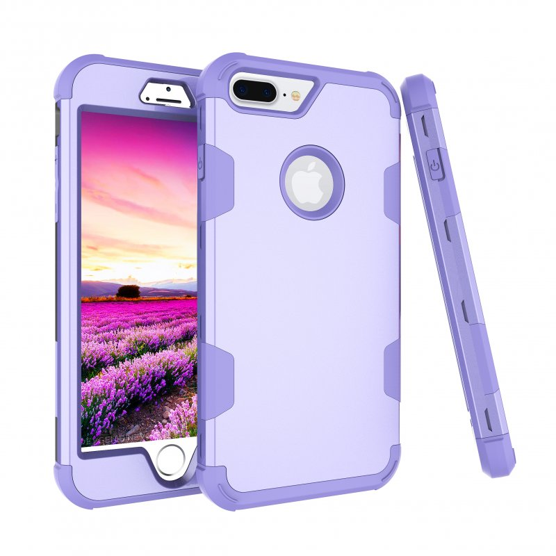 For iPhone 7 plus PC+ Silicone 2 in 1 Hit Color Tri-proof Shockproof Dustproof Anti-fall Protective Cover Back Case purple
