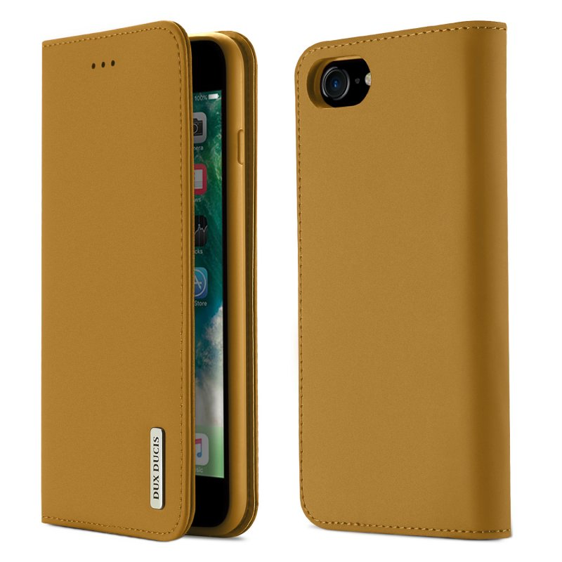 For iPhone 9 Mobile Phone Cover Magnetic Leather Protective Case with Card Slot Bracket Khaki
