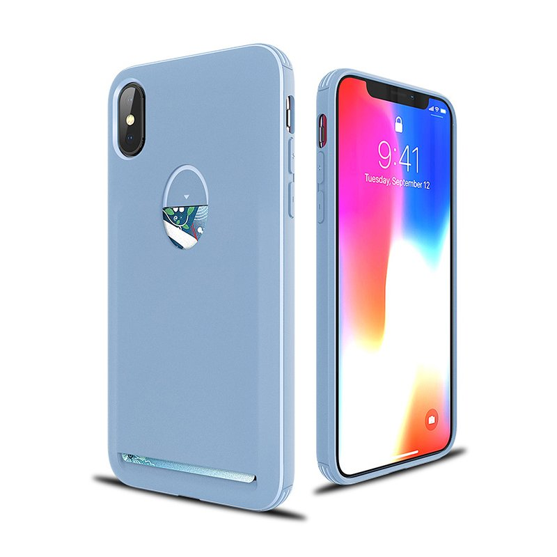 For iPhone X Protective Case TPU Matte Sweat-Proof Antiskid Cellphone Shell with Card Slot