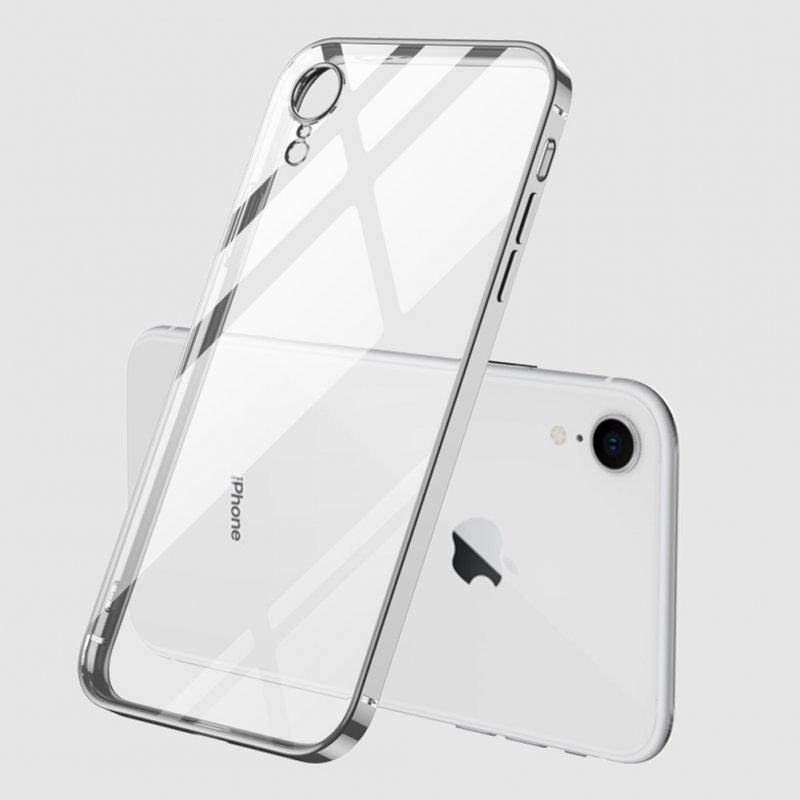 For iPhone X/XS/XR/XS Max Mobile Phone shell Square Transparent electroplating TPU Cover Cell Phone Case Silver