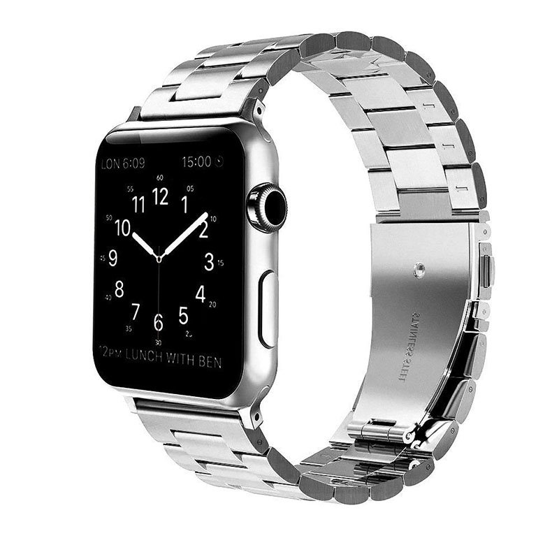 For iWatch Apple Watch Series 4 40mm/44mm Stainless Steel Band Strap Replacement Watch Band Silver_44mm