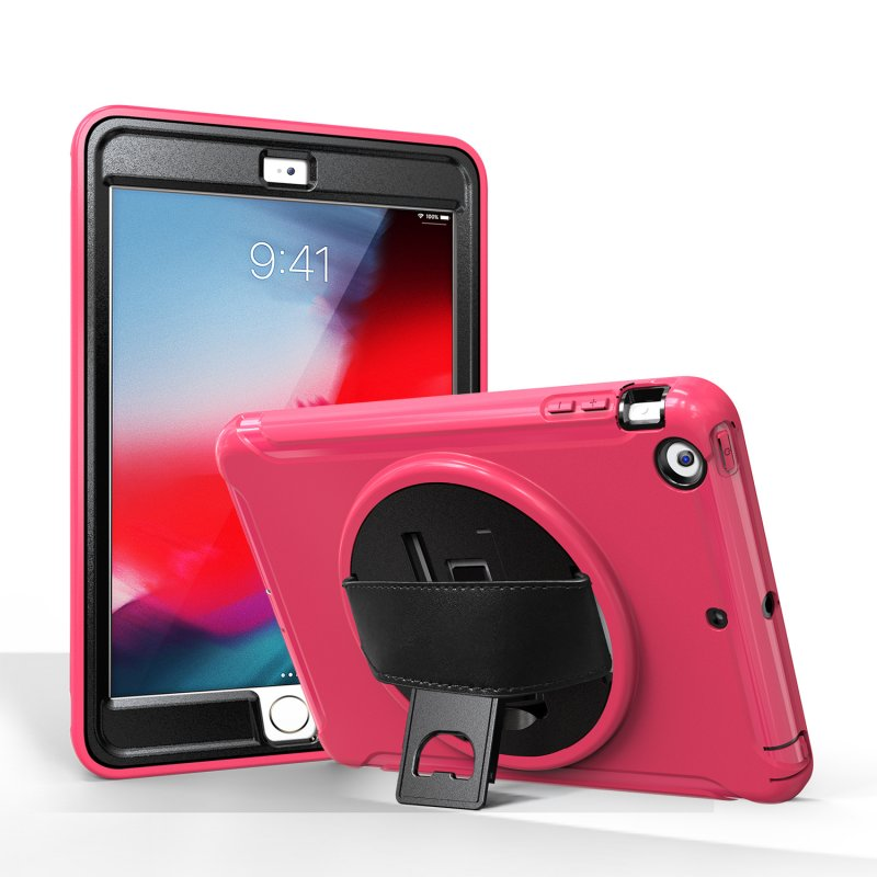 For ipad MINI 1 / 2 / 3 Wrist Handle Tri-proof Shockproof Dustproof Anti-fall Protective Cover with Bracket rose Red