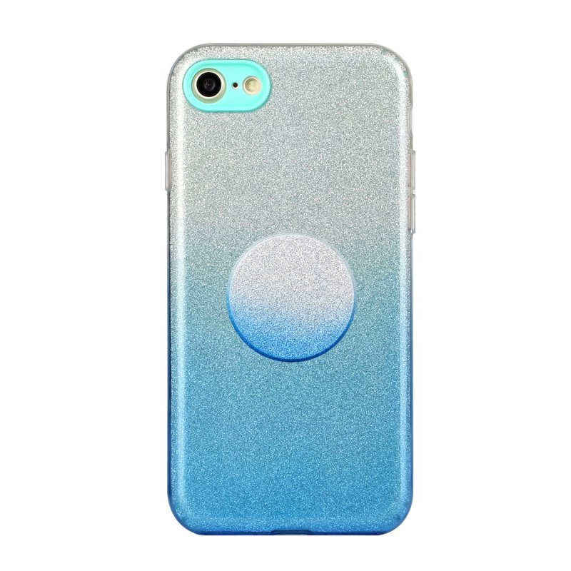 For iphone 6/6S/6 plus/6S plus/7/8/SE 2020 Phone Case Gradient Color Glitter Powder Phone Cover with Airbag Bracket blue