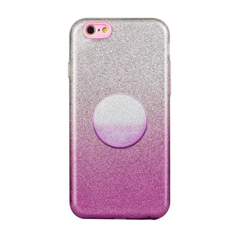 For iphone 6/6S/6 plus/6S plus/7/8/SE 2020 Phone Case Gradient Color Glitter Powder Phone Cover with Airbag Bracket purple