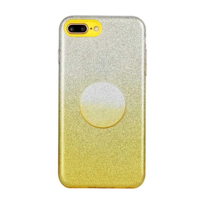 For iphone 6/6S/6 plus/6S plus/7/8/SE 2020 Phone Case Gradient Color Glitter Powder Phone Cover with Airbag Bracket yellow