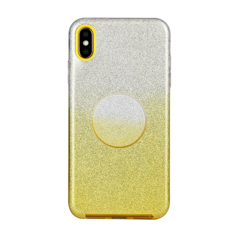 For iphone X/XS/XR/XS MAX/11/11 pro MAX Phone Case Gradient Color Glitter Powder Phone Cover with Airbag Bracket yellow