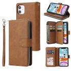 For iphone X/XS/XS MAX/11/11Pro Pu Leather  Mobile Phone Cover Zipper Card Bag + Wrist Strap brown