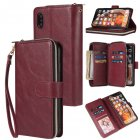 For iphone X XS XS MAX 11 11Pro Pu Leather  Mobile Phone Cover Zipper Card Bag   Wrist Strap Red wine