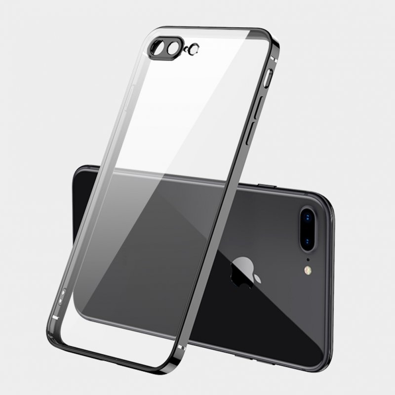 ForiPhone 7/8/SE 2020/7 plus/8 plus/6/6S/6 plus/6S plus Mobile Phone shell Square Transparent electroplating TPU Cover Cell Phone Case black