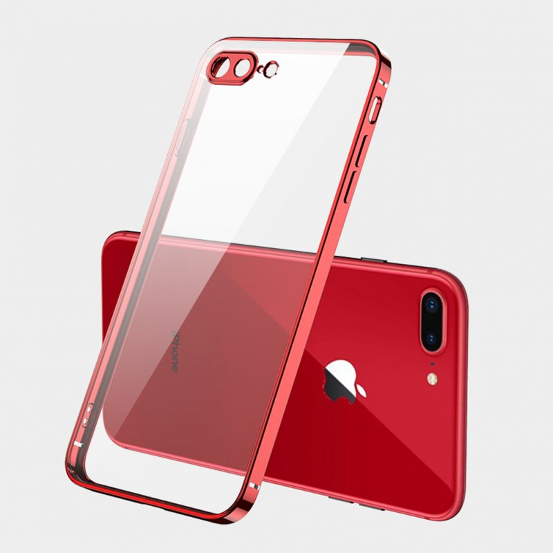ForiPhone 7/8/SE 2020/7 plus/8 plus/6/6S/6 plus/6S plus Mobile Phone shell Square Transparent electroplating TPU Cover Cell Phone Case red