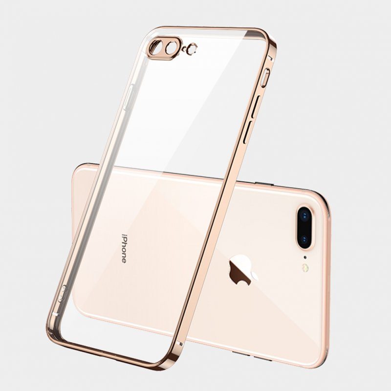 ForiPhone 7/8/SE 2020/7 plus/8 plus/6/6S/6 plus/6S plus Mobile Phone shell Square Transparent electroplating TPU Cover Cell Phone Case Golden
