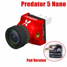 Foxeer Predator V5 Nano Full Case Racing FPV 1000TVL Camera Switchable Super WDR OSD 4ms Latency Upgraded Red pad plate