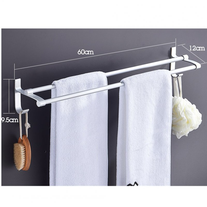 Free Punching Double Pole Towel Rack Hanger for Toilet Bathroom Storage 60CM)