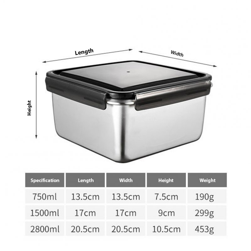 Fresh Keeping Box 316 Stainless Steel Crisper Super Large Capacity Refrigerator Special Frozen Storage Fruit Bento Box