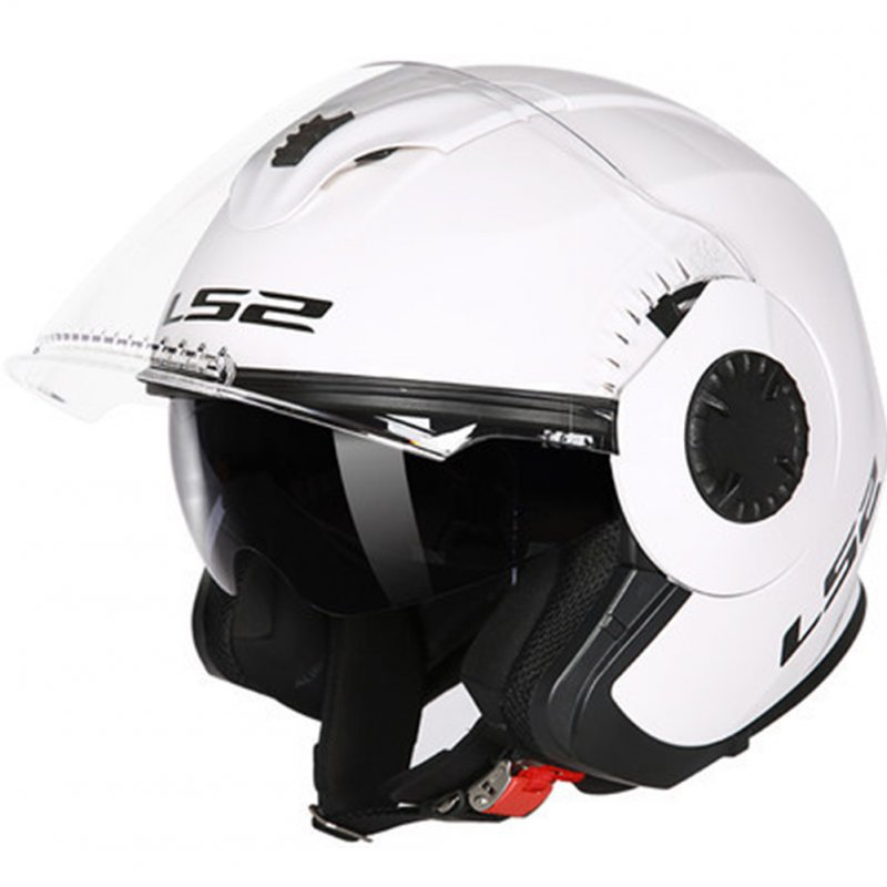 LS2 OF570 Helmet Dual Lens Half Covered Riding Helmet for Women and Men Motorcycle Helmet Casque Bright white XL