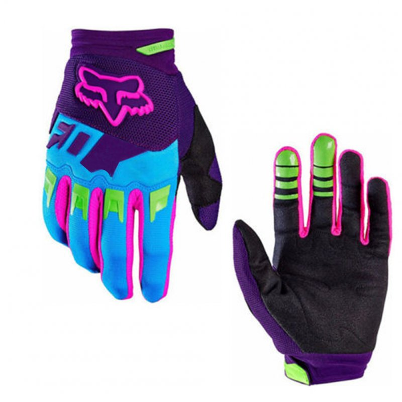 Full Finger Anti Skid Wear Resistance Racing Motorcycle Gloves Cycling Bicycle MTB Bike Riding Gloves Purple purple_L
