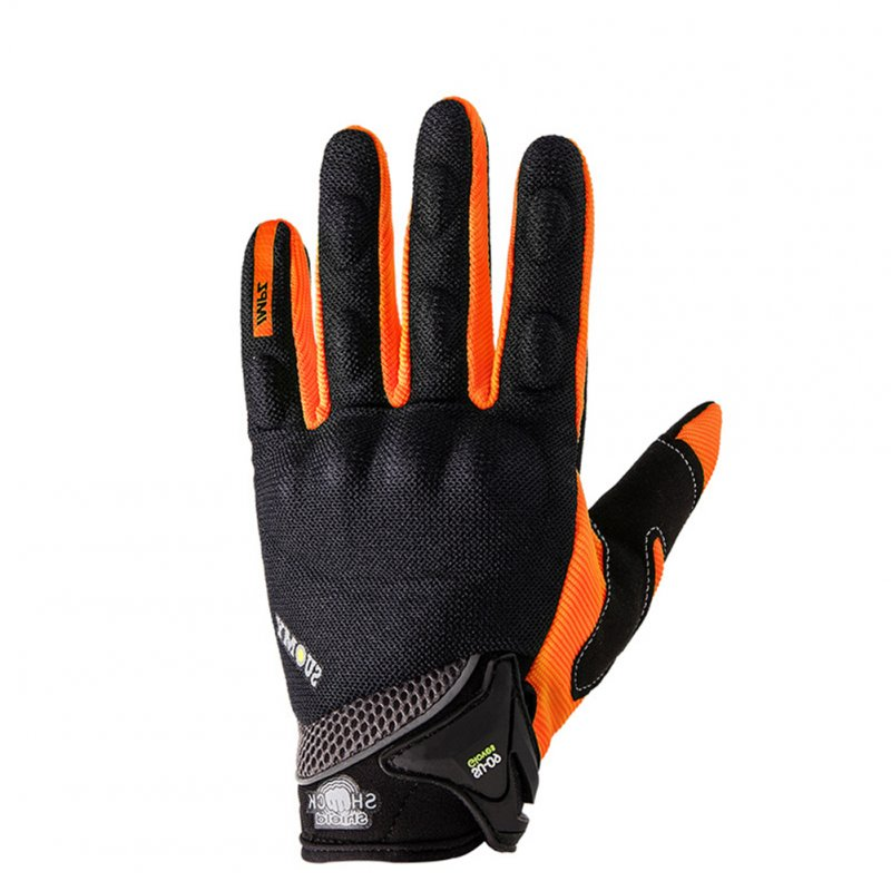 Full Finger Breathable Summer Gloves Touch Screen Motorcycle Racing Gloves Men Protective Gloves Orange_L