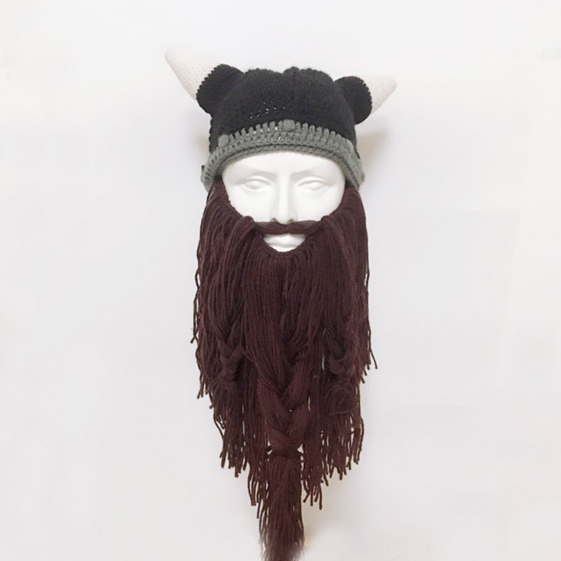 Funny Crazy Halloween Cosplay Men Knit Viking Beard Horn Hat Ski Mask Cap Barbarian Vagabond Cool Beanie Winter Warm Unisex Hat Brown_Free size