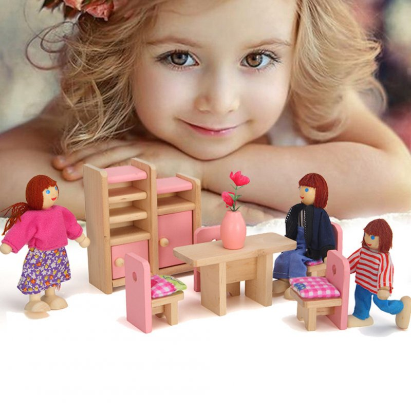 Furniture Toys Set Wooden Dollhouse Miniature for Kids Pretend Play Rooms Set restaurant