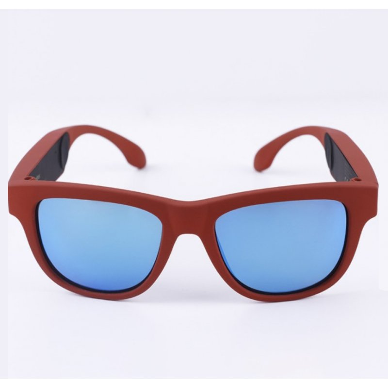 G1 Bone Conduction Music Playing Headset Polarized Glasses Sunglasses Red frame blue lens