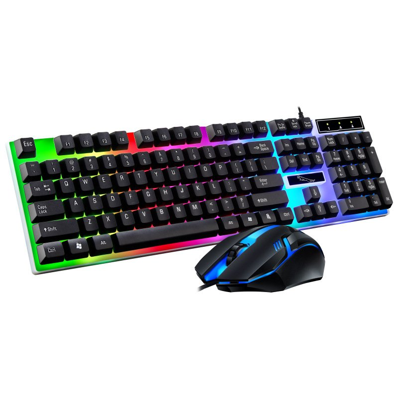 G21B USB Wired Keyboard Mouse Set Rainbow-Color Backlight For Laptop Computer PC black