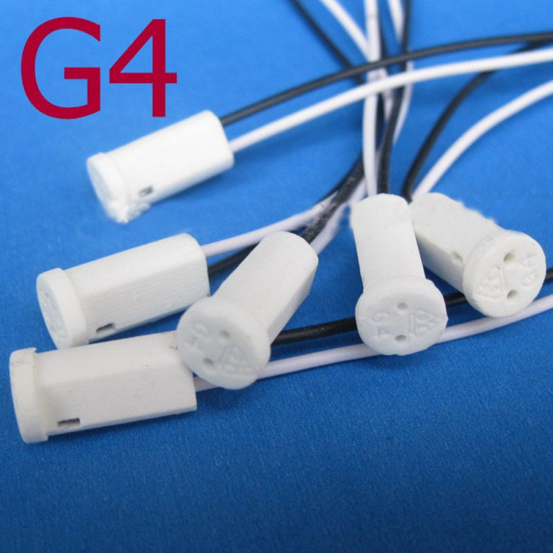 G4 Base Holder Ceramic Fire Prevention Wire Adapter Halogen Socket Connector for LED Bulb 12V