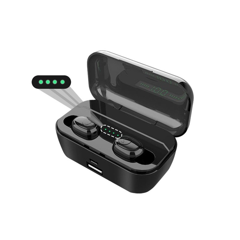 G6s Bluetooth Earphones TWS Wireless 5.0 Handsfree Earphone Sports Bass Earbuds with Mic 3500mAh Charging Box black