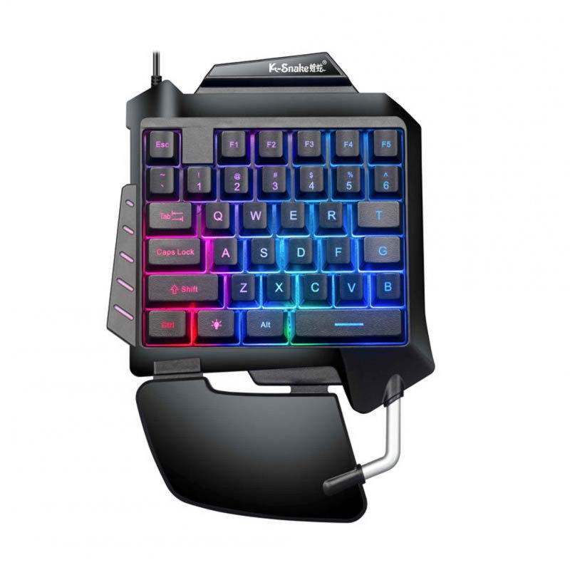 G92 Single Handed Gaming Mechanical Keyboard for Computer Phones PUBG Gaming black