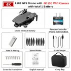 GPS Drone L108 with 4K ESC HD Dual Camera 5G Wifi FPV GPS Flow Follow RC Quadcopter Brushless Foldable Helicopter VS SG906 Black 1 battery