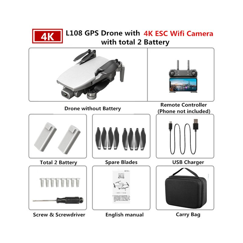 GPS Drone L108 with 4K ESC HD Dual Camera 5G Wifi FPV GPS Flow Follow RC Quadcopter Brushless Foldable Helicopter VS SG906 White 2 batteries