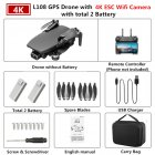 GPS Drone L108 with 4K ESC HD Dual Camera 5G Wifi FPV GPS Flow Follow RC Quadcopter Brushless Foldable Helicopter VS SG906 Black 2 battery