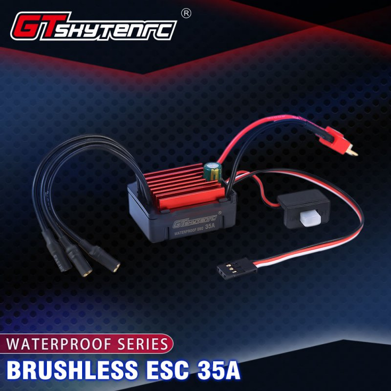 GTSKYTENRC Waterproof 35A ESC Electric Speed Controller for RC 1/16 1/14 RC Car 2838 2845 Brushless Motor 35A