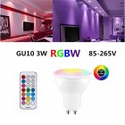 GU10 LED Spot Light Bulb 85 265V Indoor Lighting LED Lamp 3 Dimmer 7 Colors Light RGBW