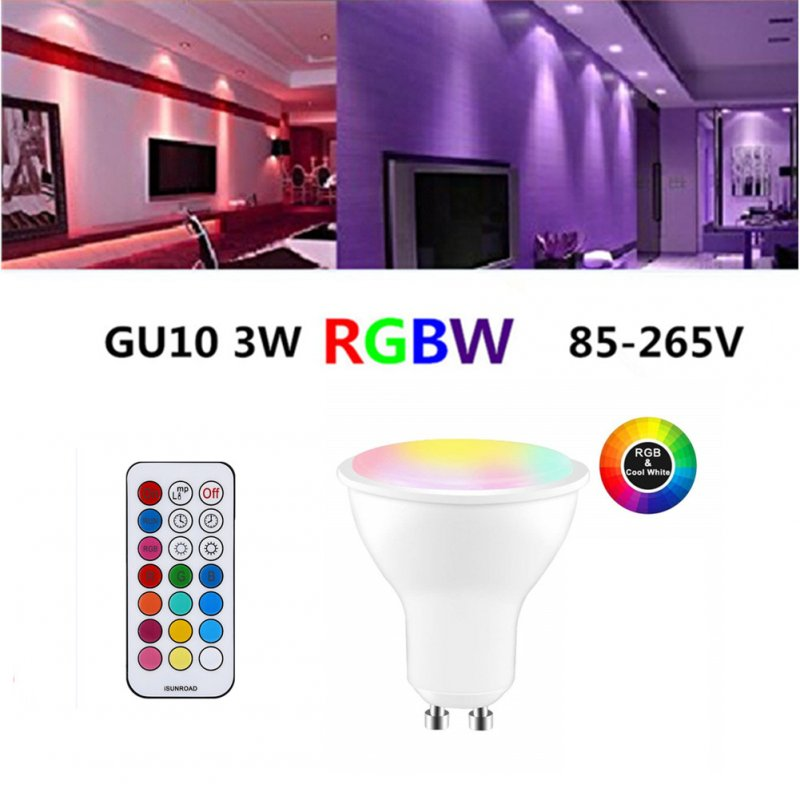 GU10 LED Spot Light Bulb 85-265V Indoor Lighting LED Lamp 3 Dimmer 7 Colors Light RGBW