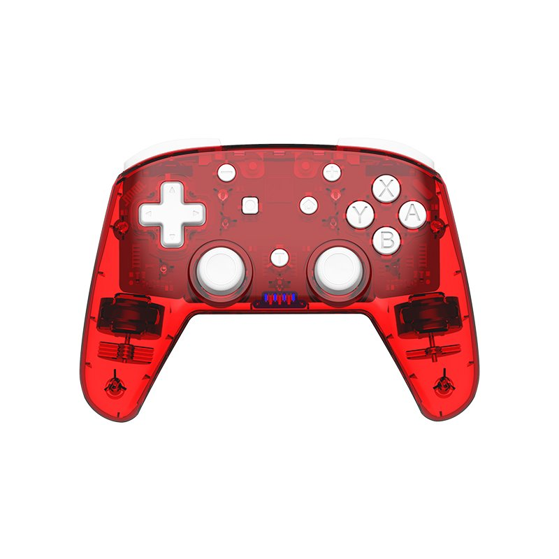 Game Controller Dual Motor Powerful Vibration Mode Bluetooth Gameppad Plastic for Switch Pro red