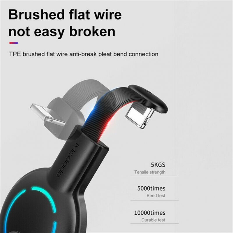 Gaming Charging Cable 180° U Shape USB Fast Charger for iPhone with Suction Cup