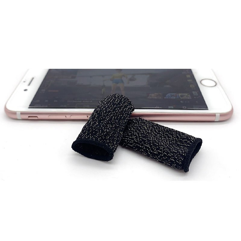 Gaming Finger Sleeve Touchscreen Finger Gloves Conductive Fiber Cap Anti-Sweat Breathable Touch and Sensitive for Mobile Phone Games  Black