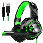 Gaming Headphone Stereo Anti noise Headset Heavy Bass for PC Laptop Phone A66 black and green breathing light single plug version